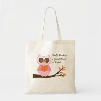 Cute Reading Owl Tote Bag