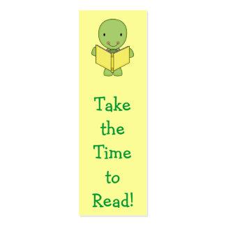 cute reading turtle bookmarks mini business card