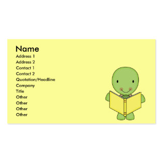 cute reading turtle business card
