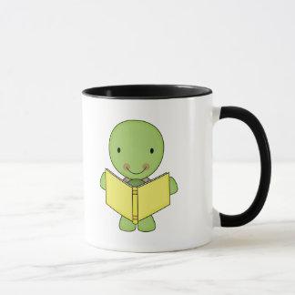cute reading turtle mug