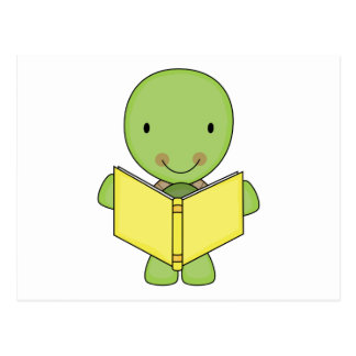 cute reading turtle postcard