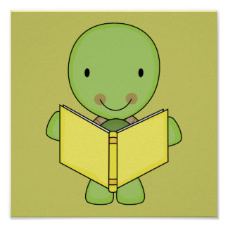 cute reading turtle poster