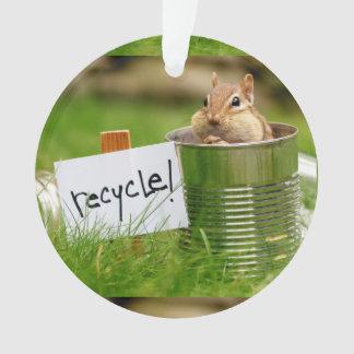 Cute Recycling Chipmunk Ornament