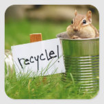 Cute Recycling Chipmunk Square Stickers