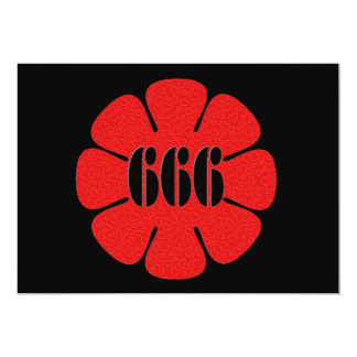 Cute Red 666 Flower Card