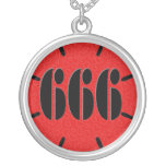 Cute Red 666 Flower Round Pendant Necklace