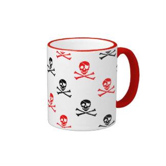 Cute Red and Black Crossed Bones Postage Coffee Mu Ringer Coffee Mug