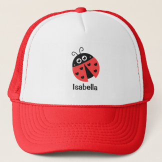 Cute Red and Black Ladybug with Hearts for Girls Trucker Hat