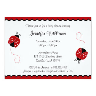Cute Red and Black Ladybugs Baby Shower Card