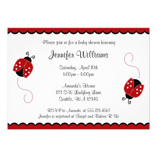 Cute Red and Black Ladybugs Baby Shower Personalized Invitation