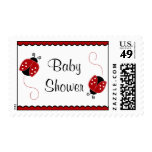 Cute Red and Black Ladybugs Baby Shower Postage Stamps