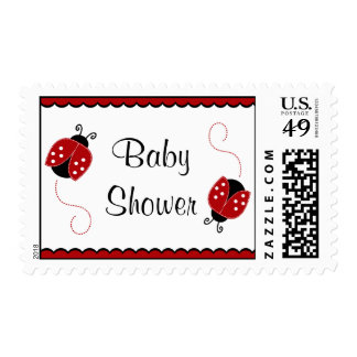 Cute Red and Black Ladybugs Baby Shower Stamp