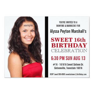 Cute Red and Black Mod Text Photo Sweet 16 Party 4.5x6.25 Paper Invitation Card
