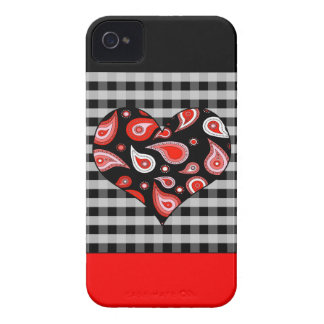 Cute Red and Black Paisley Heart on Check Case-Mate iPhone 4 Cases