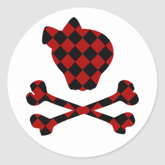 Cute Red and Black Skull and Crossbones Classic Round Sticker