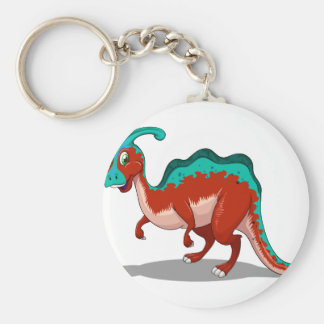 Cute red and blue dinosaur on white basic round button keychain
