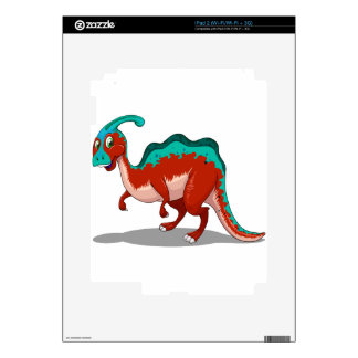 Cute red and blue dinosaur on white decal for iPad 2