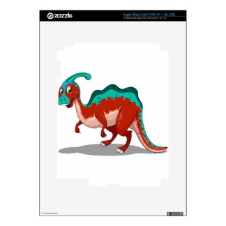 Cute red and blue dinosaur on white iPad 3 decals