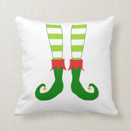 Cute Red and Green Christmas Elf Feet Throw Pillow Zazzle