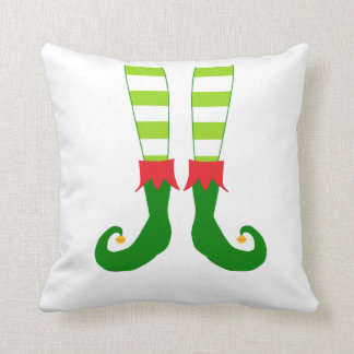 Cute Red and Green Christmas Elf Feet Throw Pillow