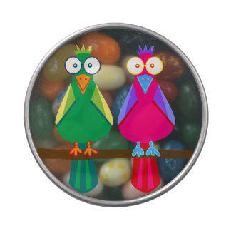 Cute red and green parrots jelly belly candy tin