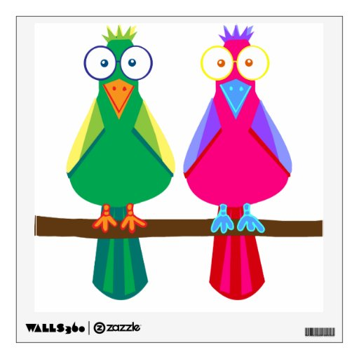 Cute red and green parrots room sticker