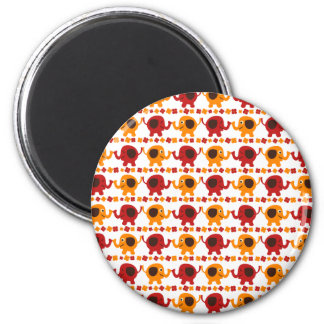 Cute Red and Orange Elephants Holding Trunks Tails 2 Inch Round Magnet