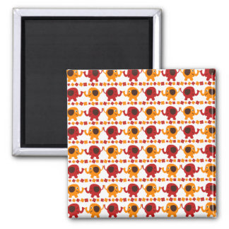 Cute Red and Orange Elephants Holding Trunks Tails 2 Inch Square Magnet
