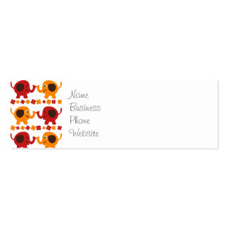 Cute Red and Orange Elephants Holding Trunks Tails Business Card Templates
