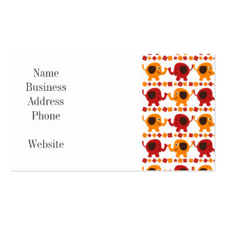 Cute Red and Orange Elephants Holding Trunks Tails Business Card Template