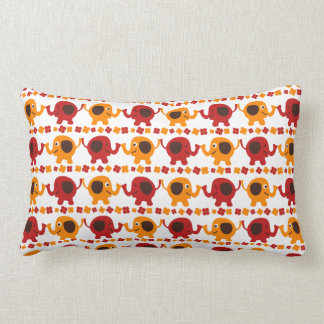 Cute Red and Orange Elephants Holding Trunks Tails Lumbar Pillow