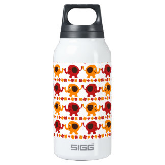 Cute Red and Orange Elephants Holding Trunks Tails Thermos Bottle