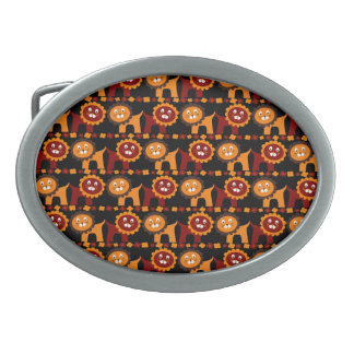 Cute Red and Orange Lions Jungle Pattern Oval Belt Buckles