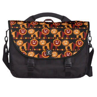 Cute Red and Orange Lions Jungle Pattern Laptop Bag