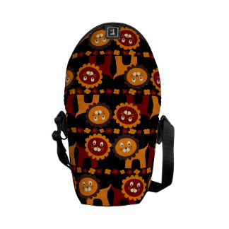 Cute Red and Orange Lions Jungle Pattern Courier Bag