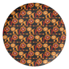 Cute Red and Orange Lions Jungle Pattern Party Plates