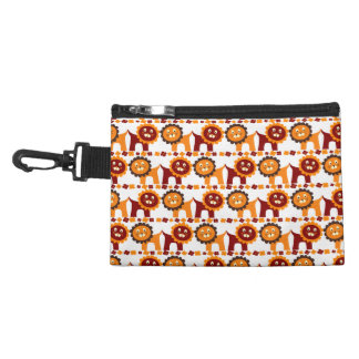 Cute Red and Orange Lions Jungle Pattern White Accessory Bags