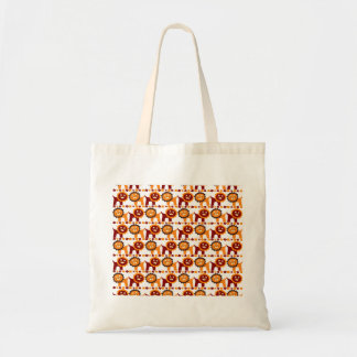 Cute Red and Orange Lions Jungle Pattern White Tote Bag