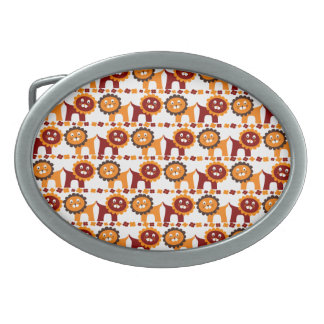 Cute Red and Orange Lions Jungle Pattern White Oval Belt Buckles
