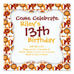 Cute Red and Orange Lions Jungle Pattern White 5.25x5.25 Square Paper Invitation Card