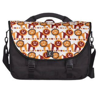 Cute Red and Orange Lions Jungle Pattern White Laptop Bags