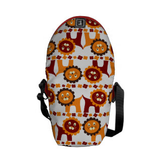 Cute Red and Orange Lions Jungle Pattern White Courier Bag