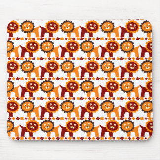 Cute Red and Orange Lions Jungle Pattern White Mousepads