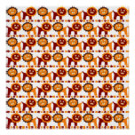 Cute Red and Orange Lions Jungle Pattern White Poster