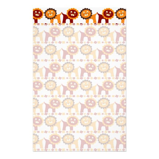 Cute Red and Orange Lions Jungle Pattern White Customized Stationery