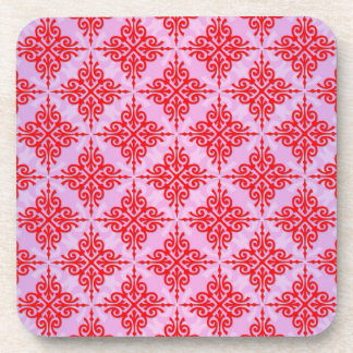 Cute Red and PInk Damask Pattern Coaster
