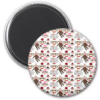 Cute Red and Pink Sock Monkeys Collage Pattern 2 Inch Round Magnet