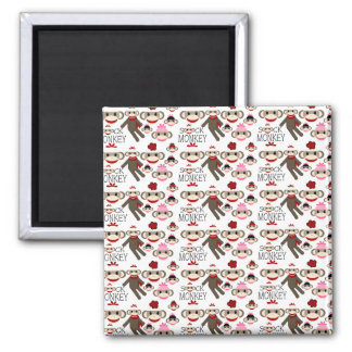 Cute Red and Pink Sock Monkeys Collage Pattern 2 Inch Square Magnet