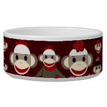 Cute Red and Pink Sock Monkeys Collage Pattern Bowl