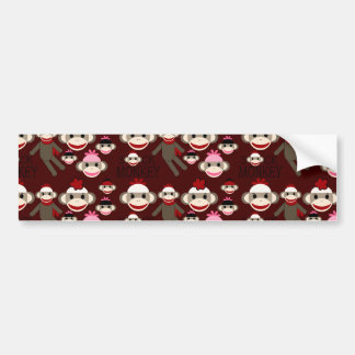 Cute Red and Pink Sock Monkeys Collage Pattern Bumper Sticker
